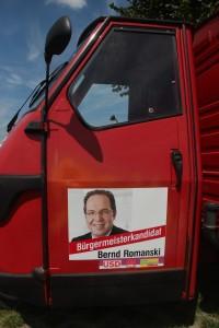 APE mit Werbung für unseren Bürgermeisterkandidaten Bernd Romanski