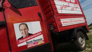APE mit Werbung Bürgermeisterkandidat Bernd Romanski