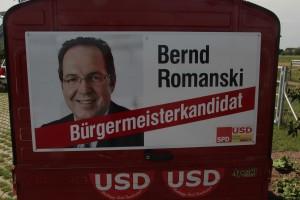 APE mit Werbung für unseren Bürgermeisterkandidaten Bernd Romanski .